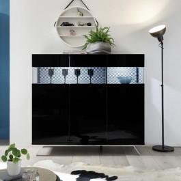 Wysoka komoda z tapicerowanymi elementami Glare 3D czarny połysk