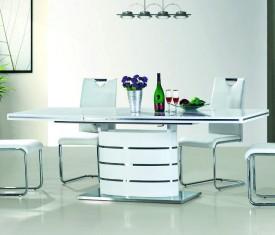 Stół rozkładany w białym połysku Fano 120-180 x 80 cm