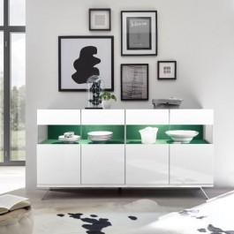 Szeroka komoda z tapicerowanymi wstawkami Glare 4D biały połysk
