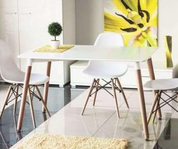 Skandynawski stół z prostokątnym blatem białym Nolan