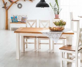 Rozkładany stół w stylu rustykalnym Poprad II brąz miodowy / sosna patyna