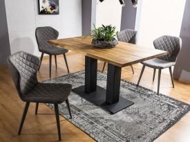 Stół nierozkładany z dębowym blatem Sauron 150x90 w stylu industrialnym