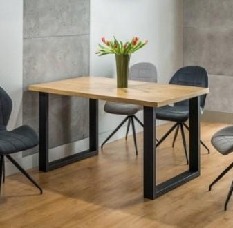 Nierozkładany stół na metalowych płozach Umberto 120x80 cm w stylu industrialnym