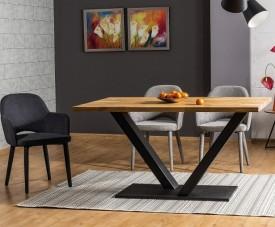 Stół z dębowym blatem litym na metalowej nodze Vector 180x90