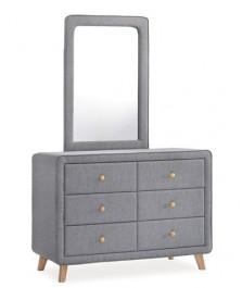 Tapicerowana komoda z lustrem Malmo z sześcioma szufladami