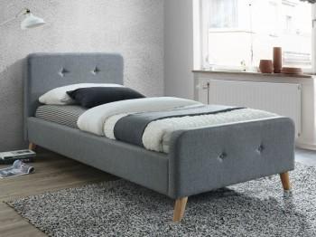 Jednoosobowe łóżko tapicerowane na drewnianych nóżkach Malmo 90x200