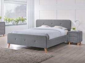 Dwuosobowe łóżko tapicerowane tkaniną Malmo 140x200 cm