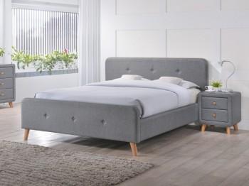Tapicerowane łóżko małżeńskie Malmo 160x200 cm w stylu skandynawskim