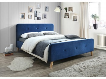 Dwuosobowe łóżko tapicerowane tkaniną aksamitną Malmo Velvet 160x200 cm