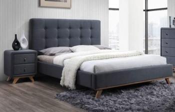Łóżko sypialniane z pikowanym wezgłowiem Melissa 160x200 cm