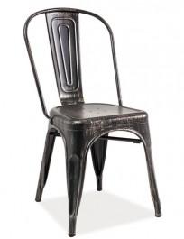 Metalowe krzesło bez podłokietników Loft czarny przecierany