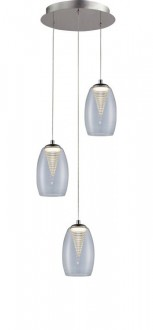Potrójna lampa wisząca ze szklanymi kloszami Enzo