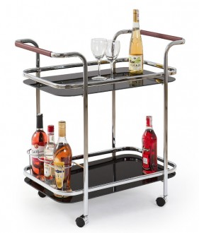 Szklany stolik barowy na kółkach BAR7