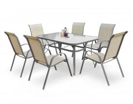 Stół ogrodowy ze szklanym blatem Mosler