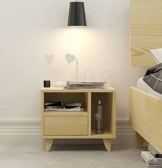 Sosnowa szafka nocna z szufladą i półkami Visby Viveca