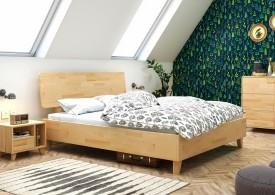 Bukowe łóżko sypialniane z drewnianym wezgłowiem Viveca