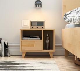 Bukowa szafka sypialniana z szufladą i półkami Visby Viveca