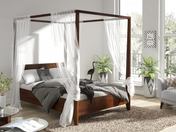 Sosnowe łóżko sypialniane ze stelażem na baldachim Canopy