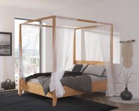 Bukowe łóżko sypialniane ze stelażem na baldachim Canopy