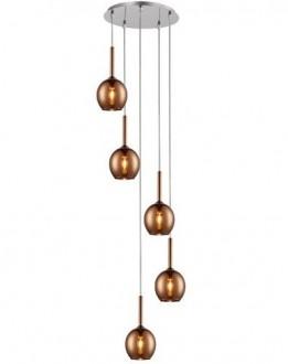 Lampa wisząca z pięcioma miedzianymi kloszami Monic