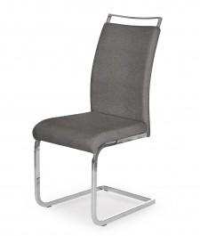 Szare krzesło z rączką na chromowanych płozach K348