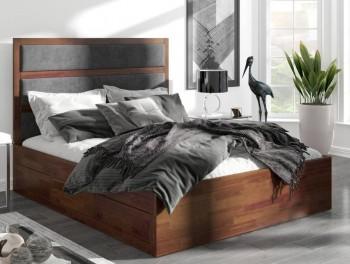 Sosnowe łóżko z szufladami i tapicerowanym zagłówkiem Magnus