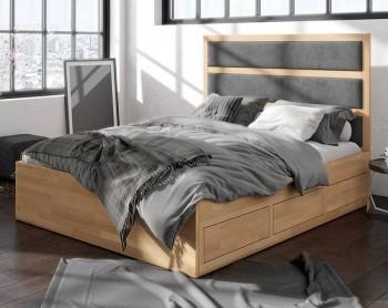 Bukowe łóżko z szufladami i tapicerowanym zagłówkiem Magnus
