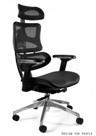 Fotel biurowy na podstawie z polerowanego aluminium Ergotech
