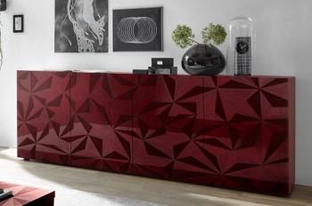 Szeroka komoda Prestige 4d czerwony połysk