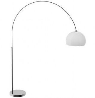 Łukowa lampa podłogowa ze szklanym kloszem Glam