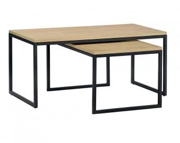 Zestaw fornirowanych stolików na płozach Loft Medium