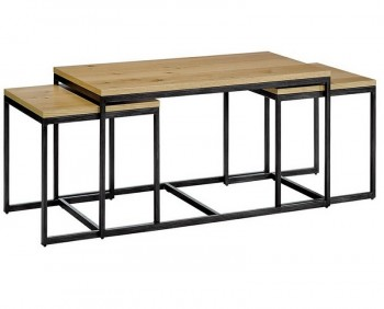 Zestaw trzech stolików fornirowanych na płozach Loft Trio