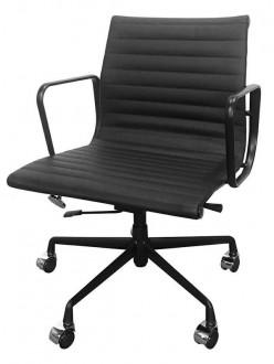 Krzesło biurowe z niskim oparciem ze skóry Body Prestige Plus