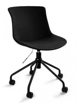 Obrotowe krzesło biurowe tapicerowane tkaniną Easy R czarne