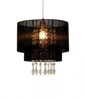 Lampa wisząca z materiałowym kloszem i kryształkami Leta 30