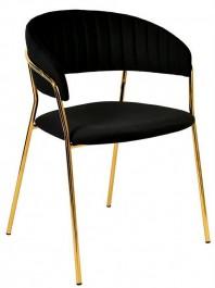 Aksamitne krzesło w stylu glamour na złotym stelażu Margo