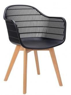 Krzesło na drewnianych nogach z kubełkowym siedziskiem Basket Arm Wood