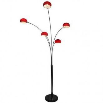 Czerwona lampa podłogowa z pięcioma kloszami Venti