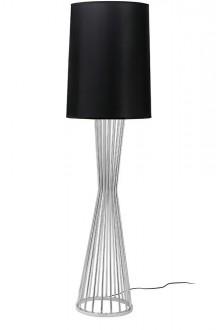 Chromowana lampa podłogowa z czarnym kloszem Holmes