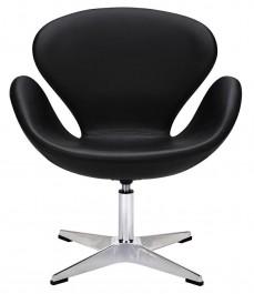 Nowoczesny fotel obrotowy tapicerowany ekoskórą Swan Silver