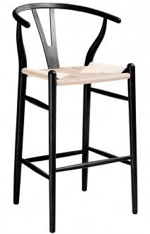 Stylowy hoker z siedziskiem z plecionki naturalnej Wishbone czarny