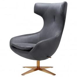 Obrotowy fotel wypoczynkowy z funkcją bujania Fin Velvet