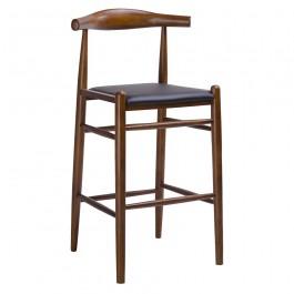 Drewniany stołek barowy z tapicerowanym siedziskiem Elbow orzech