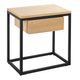 Industrialny stolik pomocniczy z szufladą na płozach Crudo