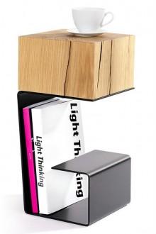 Designerski stolik pomocniczy z giętego metalu Egon