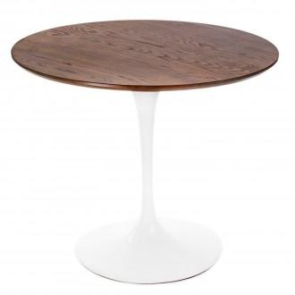 Stół z drewnianym blatem na jednej nodze Fiber 90