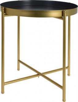 Stolik z blatem w kształcie tacy na złotej podstawie Coco
