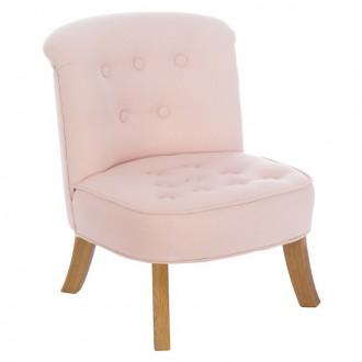 Lniany fotel dziecięcy z ozdobnymi guziczkami Somebunny len
