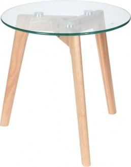 Stolik ze szklanym blatem w stylu skandynawskim Sia S