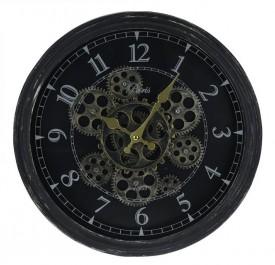 Czarny zegar ścienny Tribe w stylu vintage
